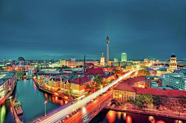 Alexanderplatz Art Print featuring the photograph Berlin City At Night by Matthias Haker Photography