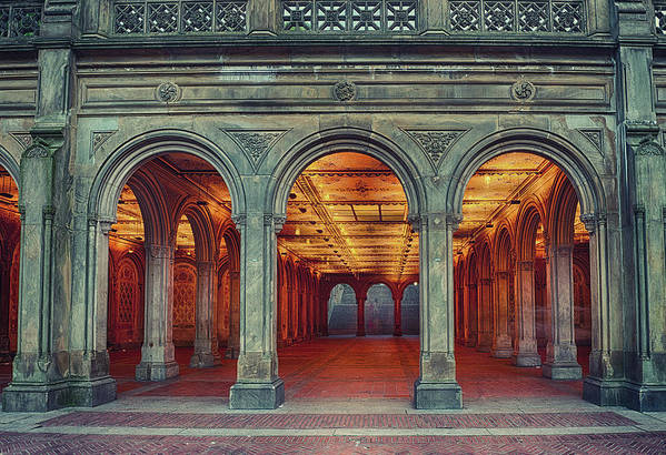 Arch Art Print featuring the photograph Bethesda Terrace In Central Park - Hdr by Rontech2000