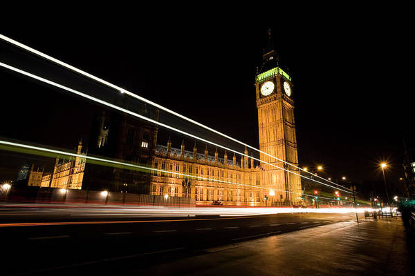 Clock Tower Art Print featuring the photograph Big Ben At Night by Track5
