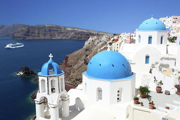 Greek Culture Art Print featuring the photograph Blue Domes Of Santorini by Jurgar