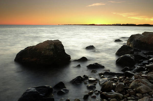 Water's Edge Art Print featuring the photograph Bluff Point Sunset by Ericfoltz