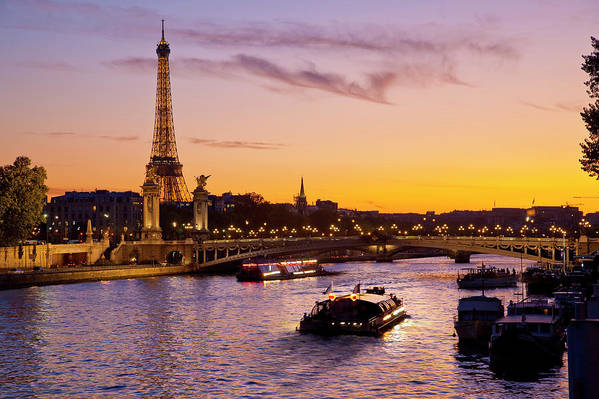 Scenics Art Print featuring the photograph Boat On Seine River, Paris by Sylvain Sonnet