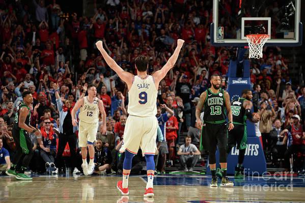 Playoffs Art Print featuring the photograph Boston Celtics V Philadelphia 76ers - by David Dow
