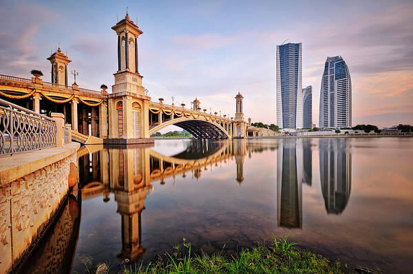 Tranquility Art Print featuring the photograph Bridge And Building In Cool Surise by Tuah Roslan