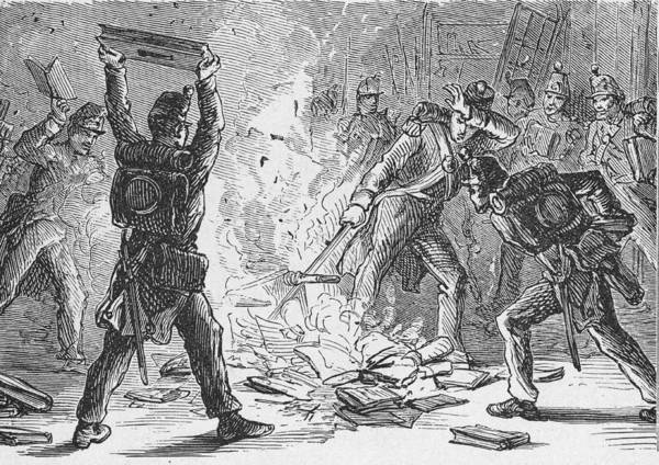 War Art Print featuring the photograph British Soldiers Burning Books In by Kean Collection