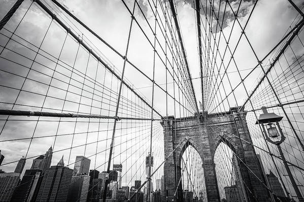 Downtown District Art Print featuring the photograph Brooklyn Bridge And New York Skyline by Cirano83