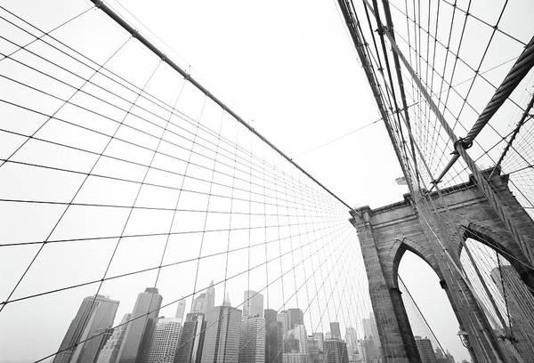 Wire Art Print featuring the photograph Brooklyn Bridge Cityscape by Digi guru