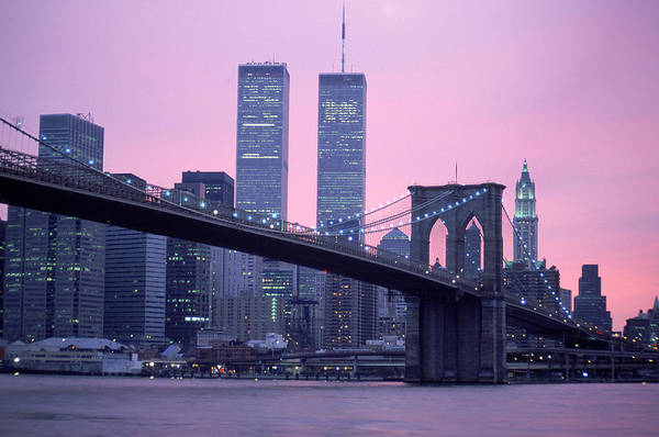 Dawn Art Print featuring the photograph Brooklyn Bridge, Twin Towers, Nyc, Ny by Barry Winiker