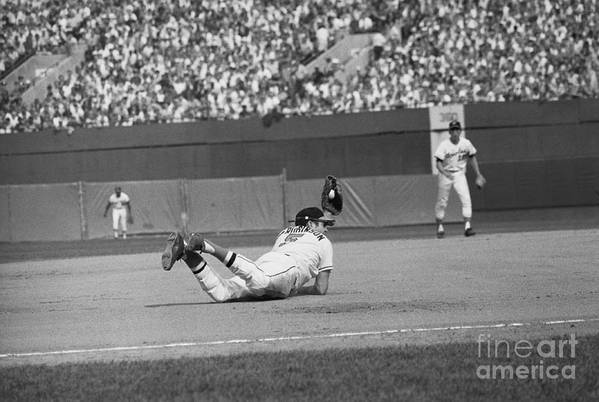 People Art Print featuring the photograph Brooks Robinson Making Diving Catch by Bettmann
