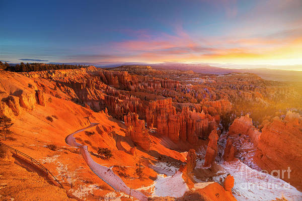Scenics Art Print featuring the photograph Bryce Canyon National Park At Sunset by Ankit Saxena