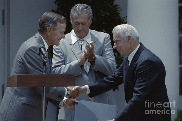 People Art Print featuring the photograph Bush Shakes Dimaggios Handted Williams by Bettmann