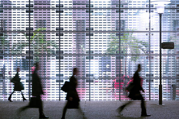 People Art Print featuring the photograph Business People Passing Modern Office by Eschcollection