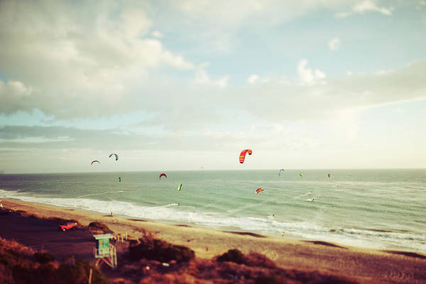 California Art Print featuring the photograph California Tilt Shifted Kite Surfers by Kevinruss
