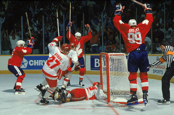 1980-1989 Art Print featuring the photograph Canada Cup Victory by B Bennett