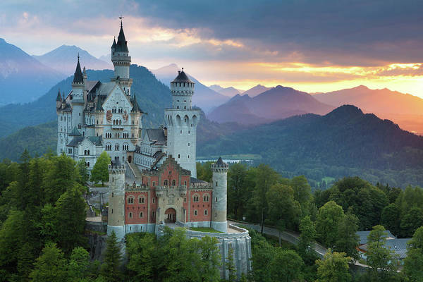 Scenics Art Print featuring the photograph Castle Neuschwanstein With A Dramatic by Ingmar Wesemann
