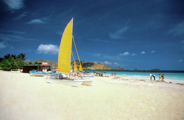 Orient Beach Art Print featuring the photograph Catamarans And People On Martin Orient by Medioimages/photodisc