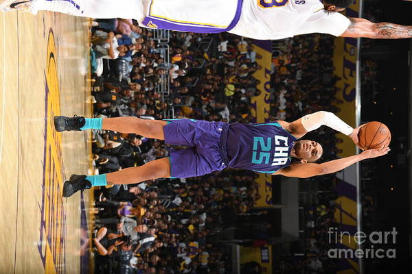 Nba Pro Basketball Art Print featuring the photograph Charlotte Hornets V Los Angeles Lakers by Andrew D. Bernstein