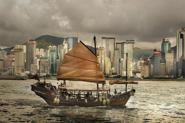 Sailboat Art Print featuring the photograph China, Hong Kong, Junk Boat In Bay by Maremagnum