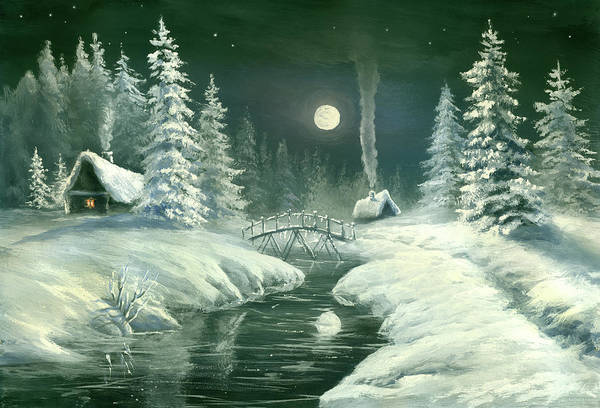 Art Art Print featuring the digital art Christmas Night In The Country by Pobytov