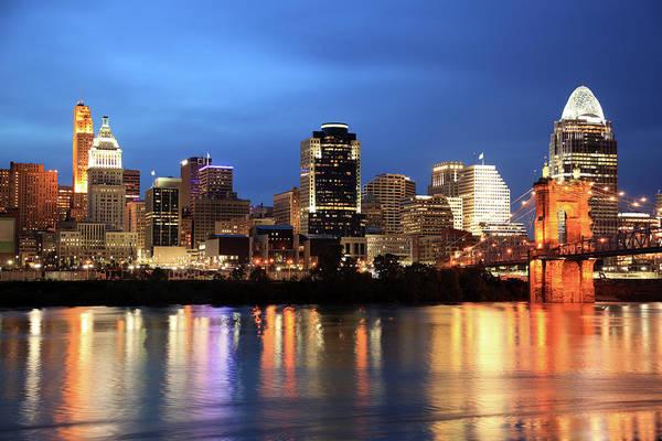 Downtown District Art Print featuring the photograph Cincinnati Skyline, Ohio by Veni