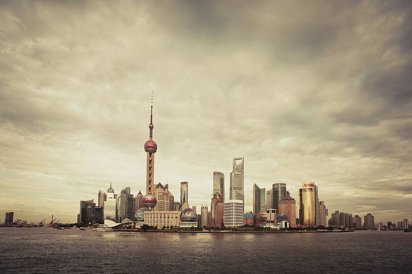 Communications Tower Art Print featuring the photograph City Skyline At Sunset, Shanghai, China by D3sign