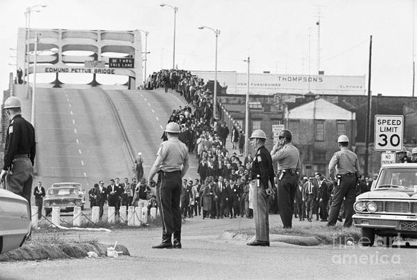 Marching Art Print featuring the photograph Civil Rights Marchers On Bridge by Bettmann