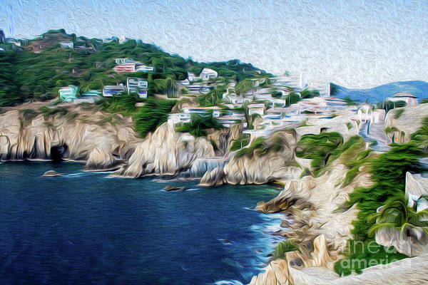 Cliffs In Alcapulco Art Print featuring the digital art Cliffs in Acapulco Mexico I by Kenneth Montgomery