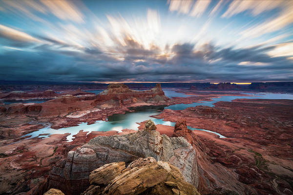 Lake Powell Art Print featuring the photograph Cloudy Morning at Lake Powell by James Udall