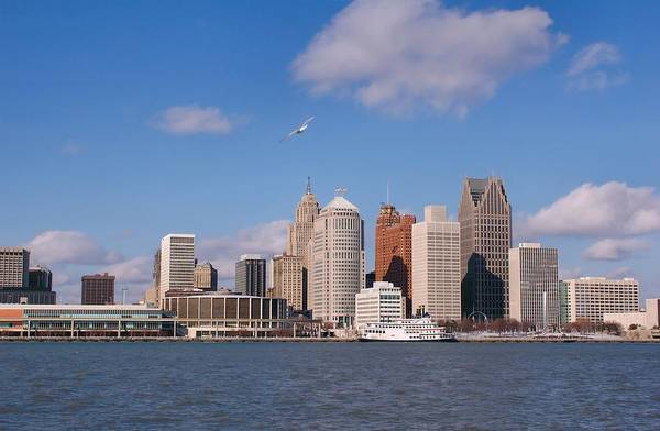 Downtown District Art Print featuring the photograph Cold Detroit by Corfoto