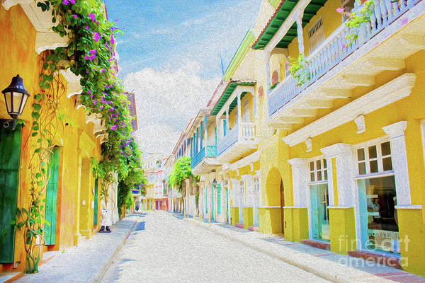 Cartagena Art Print featuring the digital art Colonial Street - Cartagena de Indias, Colombia by Kenneth Montgomery