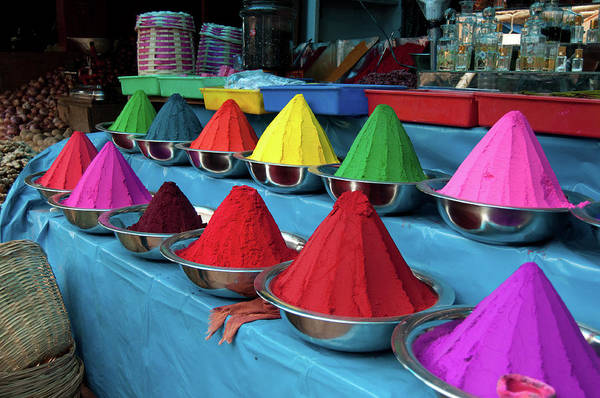 In A Row Art Print featuring the photograph Colorful Dyes At Indian Market by Photo By Meredith Narrowe