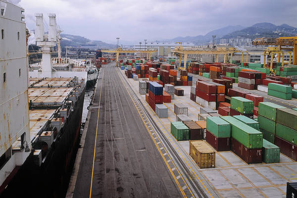 Freight Transportation Art Print featuring the photograph Container Shipping, Port Of Genoa, Italy by Alberto Incrocci