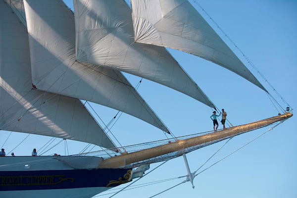 Heterosexual Couple Art Print featuring the photograph Couple On Bowsprit Of Sailing Ship by Holger Leue