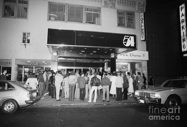 Crowd Of People Art Print featuring the photograph Crowd Standing In Front Of Studio 54 by Bettmann
