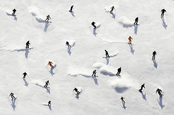 Skiing Art Print featuring the photograph Crowded Holiday by Mistikas