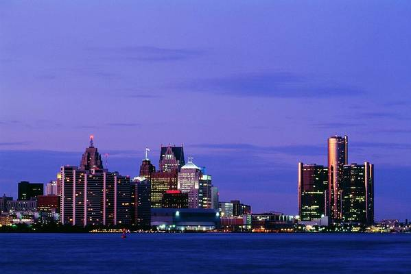 Downtown District Art Print featuring the photograph Detroit Skyline At Night In Usa by Design Pics