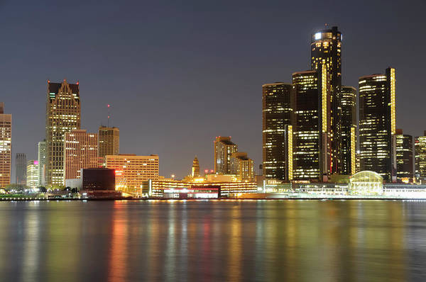 Downtown District Art Print featuring the photograph Detroit Skyline At Night by Rivernorthphotography