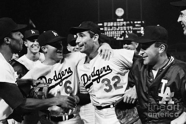 Sandy Koufax Art Print featuring the photograph Dodgers Congratulating Sandy Koufax by Bettmann