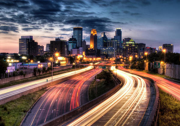 Downtown District Art Print featuring the photograph Downtown Minneapolis Skyscrapers by Greg Benz