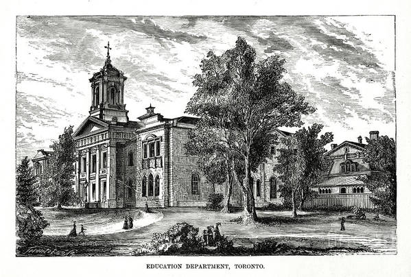 Engraving Art Print featuring the drawing Education Department, Toronto, Ontario by Print Collector