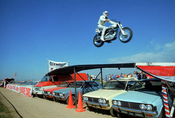 Timeincown Art Print featuring the photograph Evel Knievel In Flight by Ralph Crane