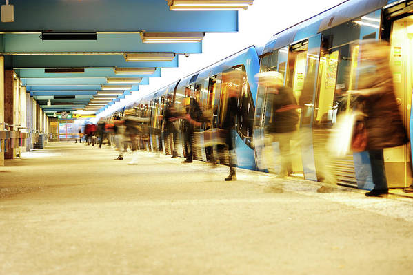 Crowd Art Print featuring the photograph Exiting Subway Train by Olaser