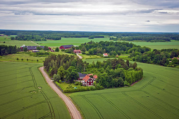 Scenics Art Print featuring the photograph Farms And Fields In Sweden North Europe by Pavliha
