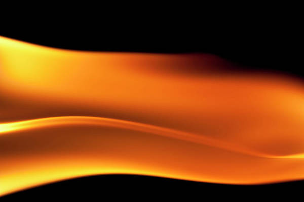 Orange Color Art Print featuring the photograph Fire Burning, Flames On Black Background by Tttuna