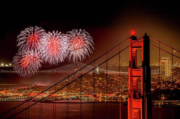 San Francisco Art Print featuring the photograph Firework At San Francisco, California by Spondylolithesis