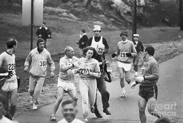 Mature Adult Art Print featuring the photograph First Women In Boston Marathon by Bettmann