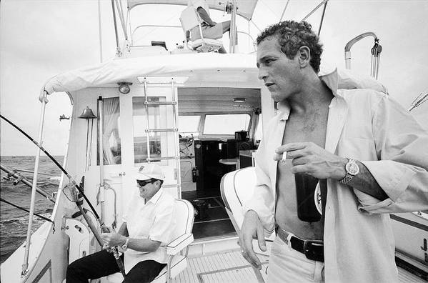 Timeincown Art Print featuring the photograph Fishing With Paul Newman by Mark Kauffman