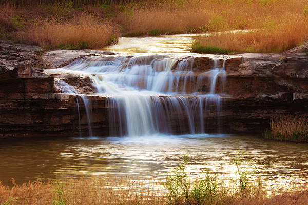 Scenics Art Print featuring the photograph Flowing Water On The Yellow Rock by Xenotar