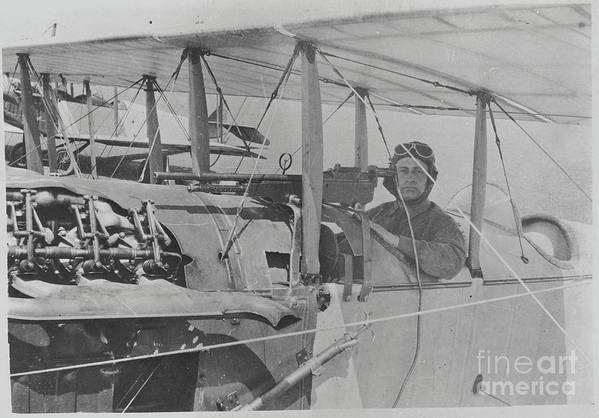 People Art Print featuring the photograph Flyer In Aircraft Cockpit by Bettmann