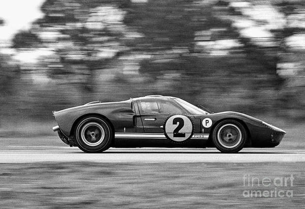 People Art Print featuring the photograph Ford Prototype Racecar On Track by Bettmann